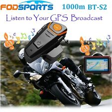1000m BT-S2 Intercom Motorcycle BT Bluetooth Helmet Headset Interphone +FM Radio