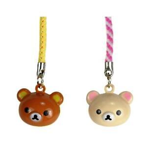 LOT OF 2 TEDDY BEAR BRASS BELL CHARM Rilakkuma San-X Cute Craft Cell Phone Strap