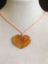 Carved genuine Jade heart pendant pink cord necklace