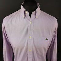 Lacoste Mens Shirt 42 (LARGE) Long Sleeve Purple Regular Fit No Pattern Cotton