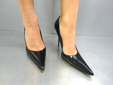 MADE IN ITALY LUXUS HIGH HEELS POINTY PUMPS SCHUHE DECOLTE LEATHER BLACK NERO 41