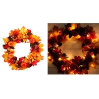 45Cm Pumpkin Wreath Front Door Display Garland Wall Window Spooky Halloween E4H7