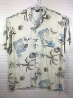 After Dark By Falcon Bay Mens 2XLT Short Sleeve Button Down Shirt Tropical Beach