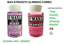 Raspberry Ketones & Acai Berry Fat Burners Capsules Strong Slimming Diet Pills