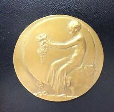 Art Deco Girl Woman Agriculture Horticulture Flowers Bronze Medal by MAUQUOY M56