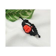 Wholesale Lot 10 Hand-Braided Tibetan Shamballa Ring Orange Laughing Buddha Bead