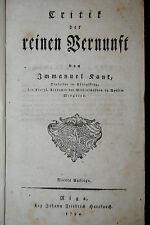 Kant – Critik der reinen Vernunft – 4. Auflage - Riga 1794