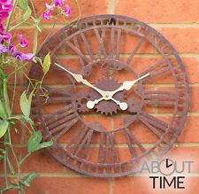 Metal Garden Wall Clock Outdoor Black Roman Numeral Skeleton Frame Battery Brown