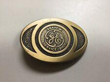 Vintage GE General Electric Anaheim Service Shop Belt Buckle Brass  / Synanon #4