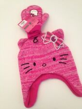 Hello Kitty Girls Knit Beanie Hat Gloves Mittens Gift Set Pink One Size