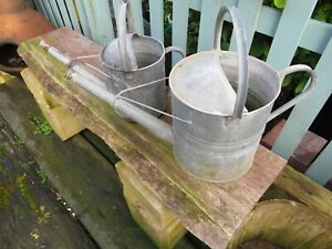 2 X VINTAGE GALVANISED WATERING CAN GARDEN FEATURE HOUSE CLEARANCE