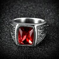 Solitaire Princess Red Garnet Silver Stainless Steel Mens Wedding Band Rings
