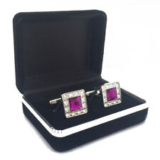square rhinestone cufflinks with box,purple crystal cuff links with storage case