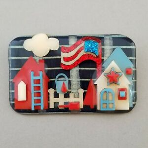 PATRIOTIC 4th of July HOUSE PIN by LUCINDA Flag Community Neighbors WEARABLE ART