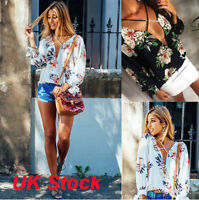 NEW Womens Blouse Lace-Up Top Ladies V Neck T Shirt Floral Casual Chiffon 6 -16