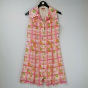 St Michael 50s 60s Sleeveless Pink Green Floral Checked Shirt Dress - Size 12