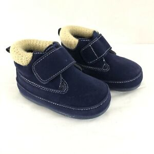 Total Toddler Boys Boots Faux Suede Knit Hook & Loop Navy Blue US Size 5