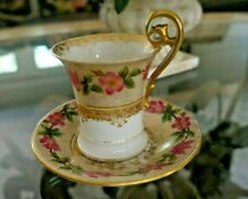 Limoges T. V. Fragonhard Shape Hand Painted Pink Flowers gold Honeycomb pattern