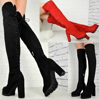 Womens Ladies Thigh High Over The Knee Block Heel Platform Boots Lace Up Shoes