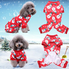 More details for christmas pet clothes pajamas small cat dog xmas print jumpsuit coat costume new