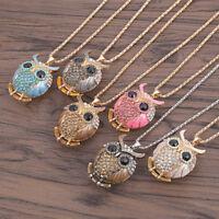 Rhinestone Crystal Owl Necklace Animal Pendant Long Chain Women Fashion Jewelry