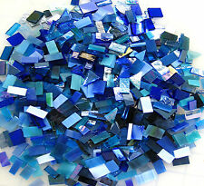 """300 Mosaic Tiny Tiles BLUE MIX 1/4""""-3/8"""" Stained Glass Fun Pack"""