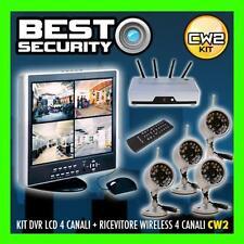 KIT CW2 VIDEOSORVEGLIANZA WIRELESS 4 TELECAMERE RICEVITORE +DVR 500GB+LCD