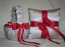 Silver Satin / Red Lace Trim Flower Girl Basket & Ring Bearer Pillow #1