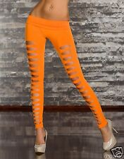 4357-2 Leggings aus Stretch-Stoff mit Rissen Gr. 34 36 38 Neon-Orange