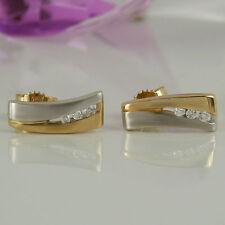 Reinheit VS Echter Diamanten-Ohrschmuck im Ohrstecker-Stil aus mehrfarbigem Gold mit Butterfly-Verschluss