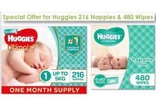 SPECIAL - Huggies Baby 216 Bulk Nappies Unisex Newborn & 480 Huggies Baby Wipes
