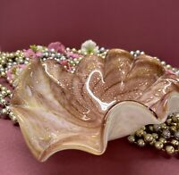 Vintage MCM Aventurine Murano Cased Art Glass Dish Swirl Rose Gold White Pink