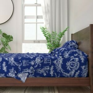 Toile Toile De Jouy Ink Blue Navy Blue 100% Cotton Sateen Sheet Set by Roostery