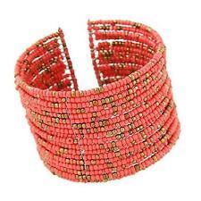 1pc Chic Women Fashion Bohemian Beads Beaded Bracelet Chain Open Design Light Red