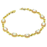 """925 Sterling Silver Gold-Tone White Pink Simulated Opal Tennis Bracelet, 7.5"""""""
