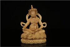 Chinese Boxwood handwork carving Buddha Display statue