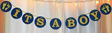 its a boy blue and yellow baby feet baby shower hanging banner decoration