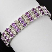 Womens 3 Row Purple Amethyst Stretch Tennis Fashion Bracelet White Gold Plated