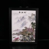 """14.2"""" Chinese Porcelain Famille Rose Hills and Waters Porcelain Board Hang Draw"""