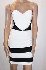 PLUME Designer White Black Tier Hem Strapless Dress Size 10-S BNWT #SW99