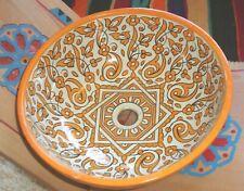 Moroccan large yellow ceramic round sink wash basin
