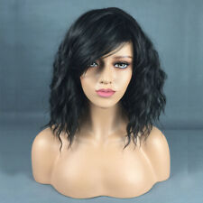 Women Fashion Short Black Curly Wig Side Part Shoulder Length Wavy Hair Party AU