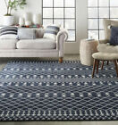 Nourison StyleWell Sagres Navy/Grey 7 ft. x 10 ft. Striped Bohemian Area Rug