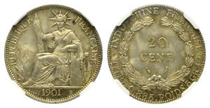 FRANCE  INDO-CHINA , SILVER 20 CENTS 1901 A NGC MS 64 , RAREN