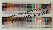 100 gel pens at  50 cents a pen  ideal for adult  colouring books  * bulk buy *