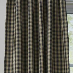 """Town and Country Black or Wine and Tan 42"""" x 72"""" Lined Cotton French Door Panels"""