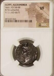Egypt, Alexandria NERO Bl Tetradrachm NGC VF Ancient Silver Coin