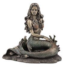 Mermaid Sitting on Beach - Bronze Finish Statue Sculpture Figurine *Home Decor*