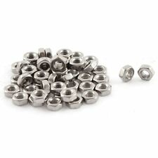 Metric M3x0.5mm Stainless Steel Finished Hex Nut Silver Tone 50pcs