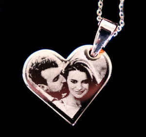 Precision Engraved Rose Gold Plated Titanium Hanging Heart Photo Pendant